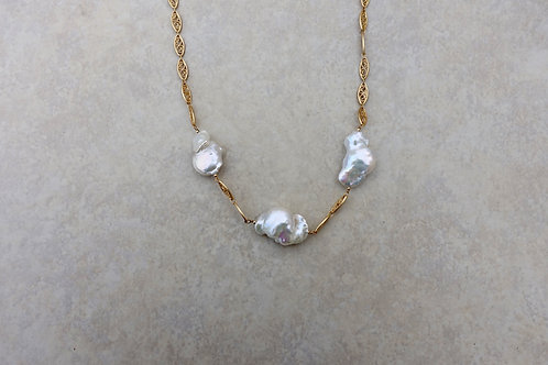 White Baroque Pearls and Filigree Chain Necklace