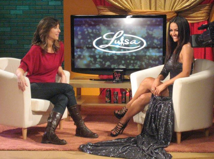 luisa show sparkly dress with guest.jpg