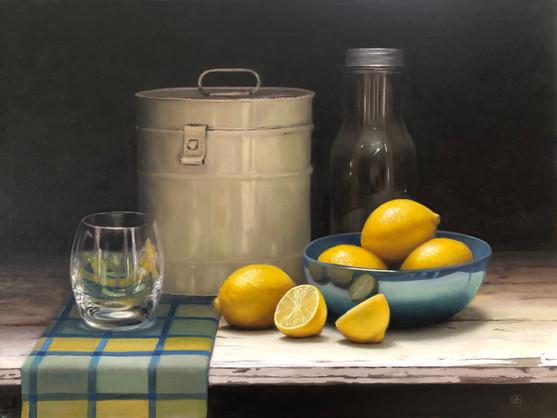 Lemons with vintage bottle and tin.jpg