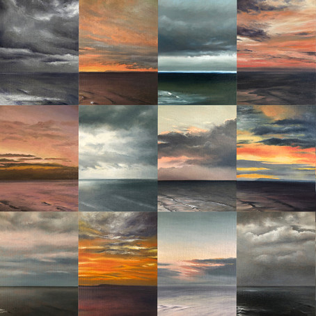 Sunrise postcard paintings