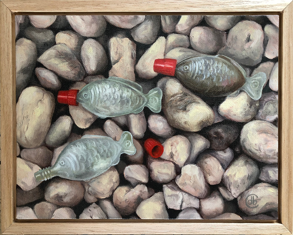 Plastic catch, Deirdre Boeyen Carmichael, Deirdre Carmichael, single use plastic, plastic pollution, plastic soy sauce fish, oil painting,