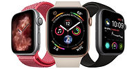 Three Apple iWatches with screen switched on