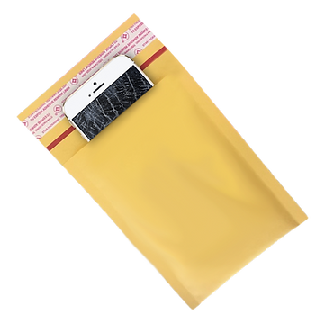 phone with cracked creen in the bubble yellow envelope
