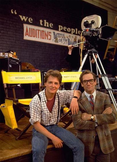 Michael J Fox and Huey Lewis on the set