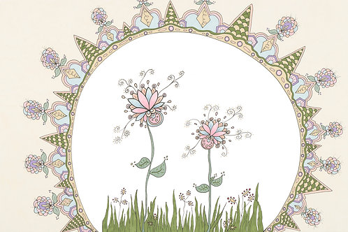 Fine Art Print Pink and Blue Flowers