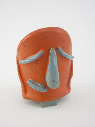 Orange Face planter with Turquoise Nose