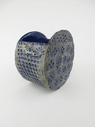 Round Blue Impressed Vessel