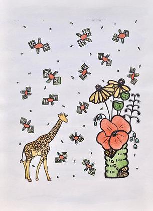 Giraffe Amongst the Flowers