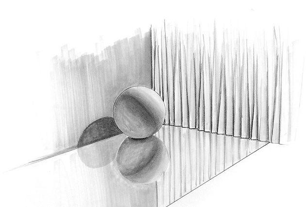 sphere-mirror reflection-shadow-curtain-
