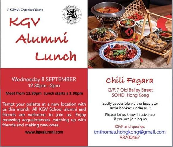 KGV Alumni Lunch - Wednesday, 8th September 2021