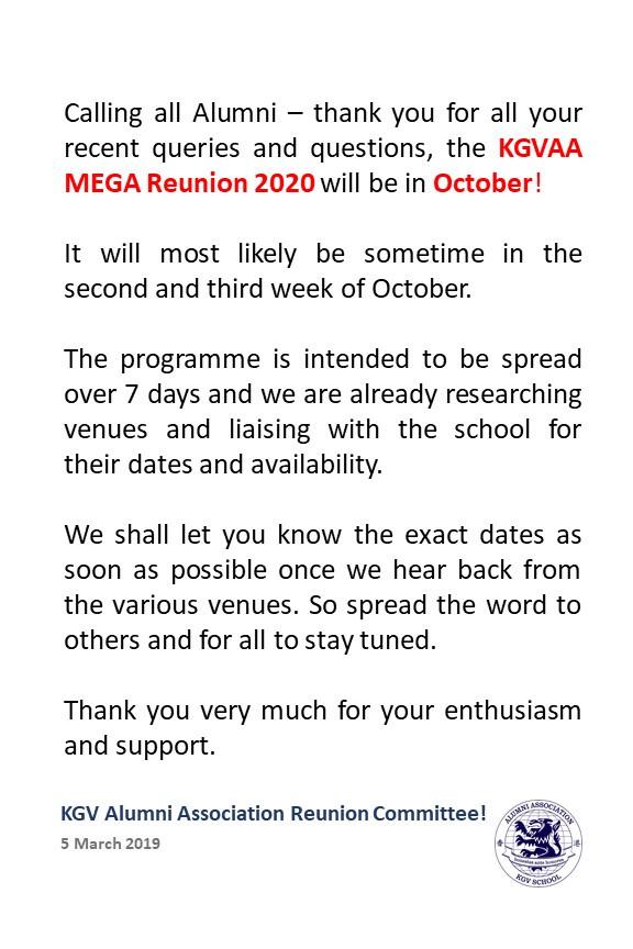 KGVAA MEGA Reunion 2020