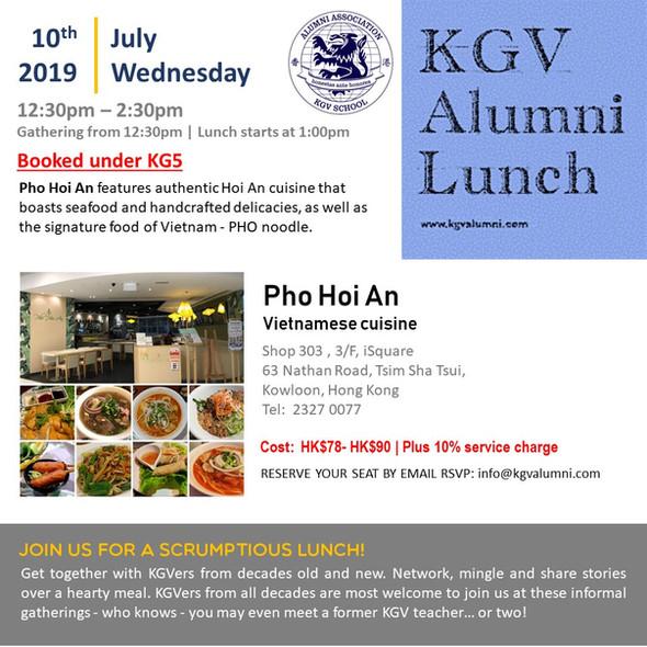 KGV Alumni Lunch - 10th July 2019
