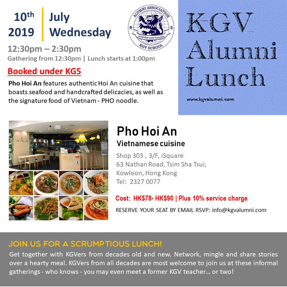 KGV Alumni Lunch - 10th July 2019