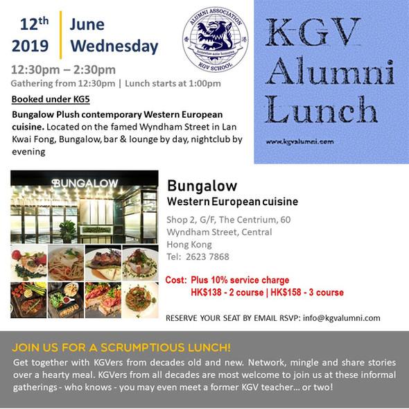 KGV Alumni Lunch - 12th June 2019