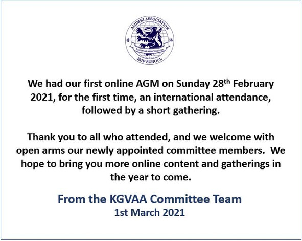 Thank you from the KGVAA Committee Team.