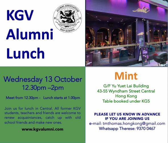 KGV Alumni Lunch - Wednesday, 13th October 2021