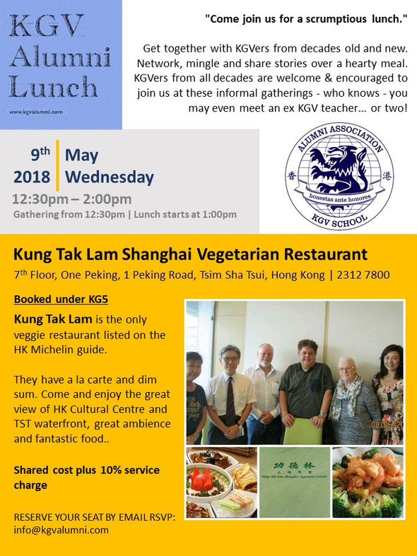 Come and join the KGV Alumni for lunch at a Vegetarian Restaurant on 9th May 2018.