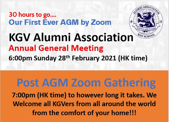 Join our first 'KGVAA AGM' & 'Post AGM Zoom Gathering' with the team.  It's this Sunday 28 Feb 2021