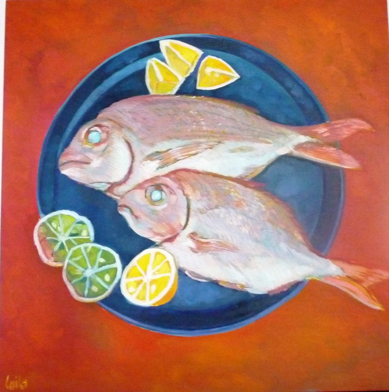 Fish on blue plate