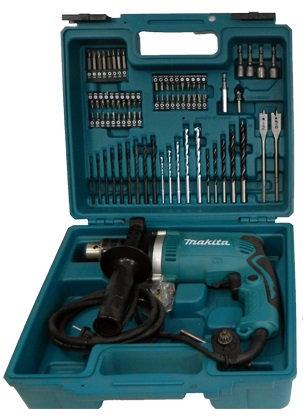 Taladro Percutor MAKITA VVR 710W CAP. 5.8  + 75 PCS Caja Plastica HP1630
