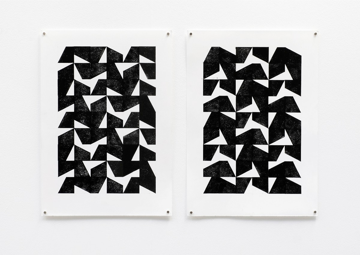 «2+3 counterclockwise / 2+3 clockwise», 2020, Relief printing on paper, 30x42 cm (each)