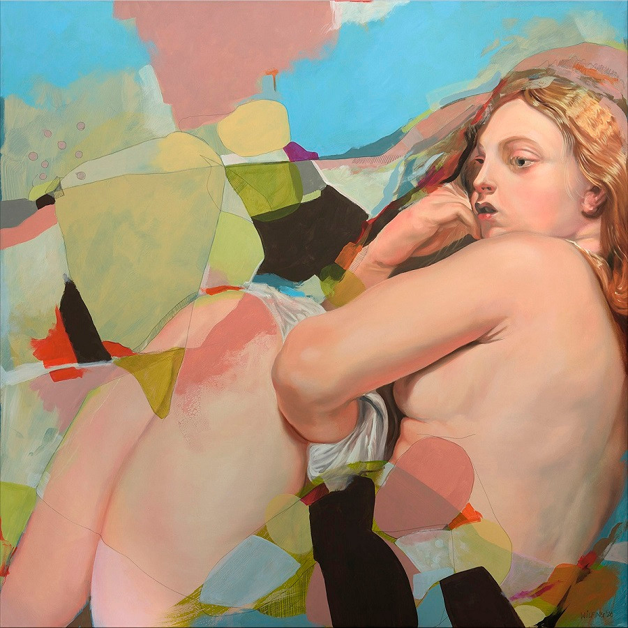 """The freezing Venus, after Rubens"" Oil, Acrylic, Colored Pencil on Polyester ,100 x 100 cm"
