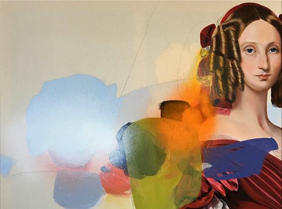 """Louise of Orléans, after Winterhalter"" Oil, Acrylic, Pencil on Canvas,100 x 100 cm"