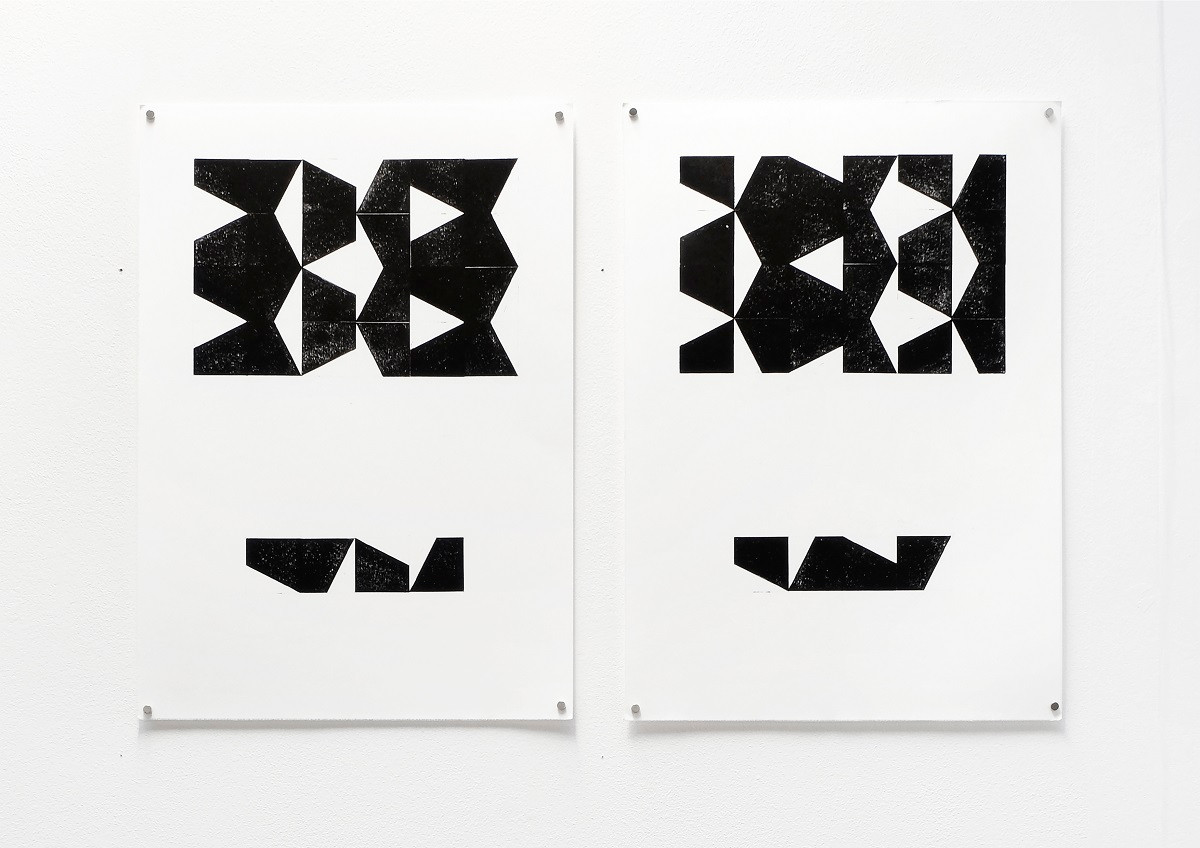 Untitled, 2020, Relief printing on paper, 30x42 cm (each)