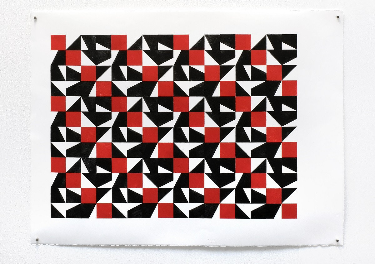 «Descending diagonal», 2020, Relief printing on paper, 56x76cm