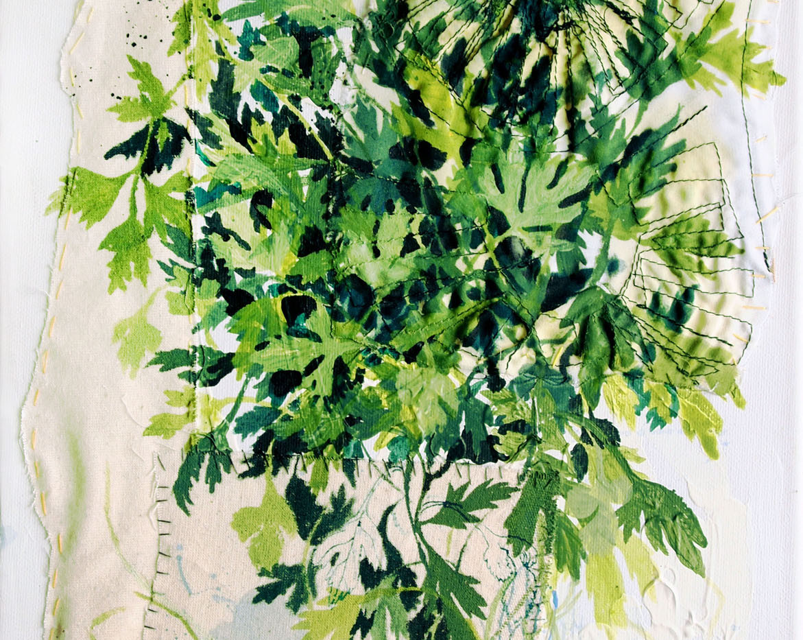 Parsley, Mixed media on canvas (hand sewn collage with different pieces of textile, acrylic), 2018, 27cm x 41cm