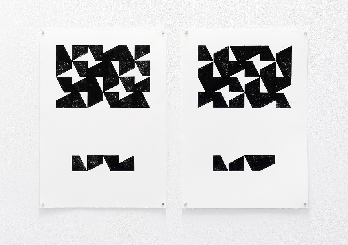 «2 clockwise/2 counterclockwise», 2020, Relief printing on paper, 30x42 cm (each)