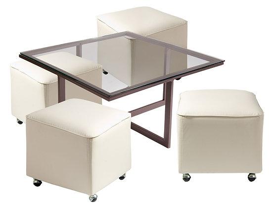 Mesa de Centro Metal 4 Pouf Blanco