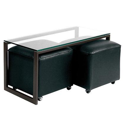 Mesa de Centro Metal 2 Pouf Negro