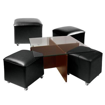 Mesa de Centro Cubierta de Vidrio y Patas de Madera 4 Pouf Negro