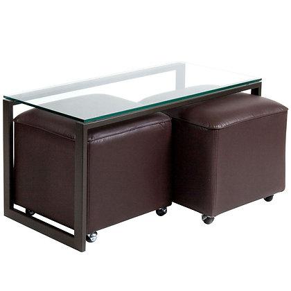 Mesa de Centro Metal 2 Pouf Chocolate