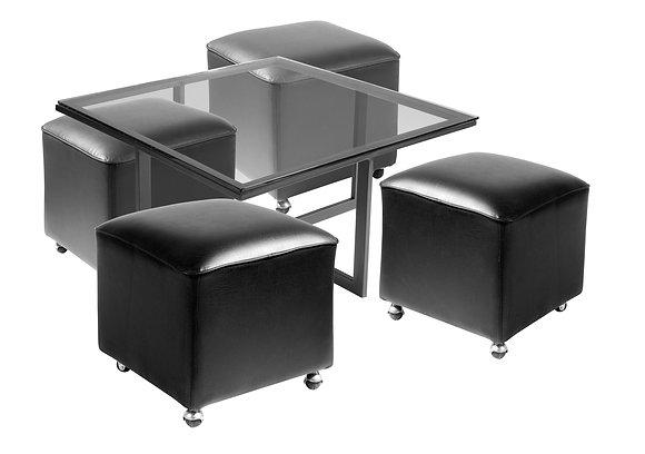 Mesa de Centro Metal 4 Pouf Negro