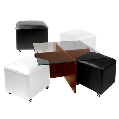Mesa de Centro Cubierta de Vidrio y Patas de Madera 2 Pouf Blancos y 2 Negros