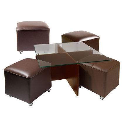 Mesa de Centro Cubierta de Vidrio y Patas de Madera 4 Pouf Chocolate