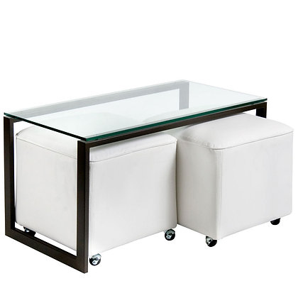 Mesa de Centro Metal 2 Pouf Blanco
