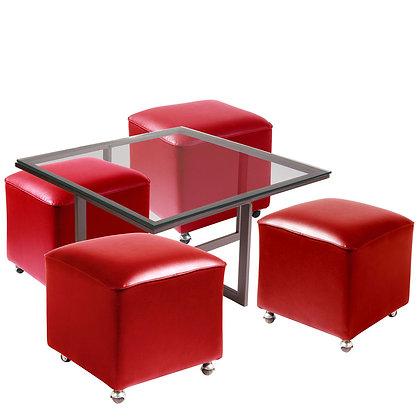Mesa de Centro Metal 4 Pouf Rojo