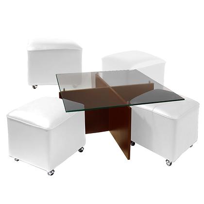 Mesa de Centro Cubierta de Vidrio y Patas de Madera 4 Pouf Blanco