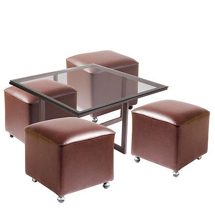 Mesa de Centro Metal 4 Pouf Chocolate