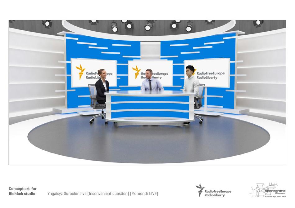Bishkek, Azattyk, RFERL, Set Design, Studio, Broadcast, Design, Tomáš Jaroš, Návrh, Production Designer, Internet, Online, Návrh dekorace, Scénograf, Dekorace, Kulisy,