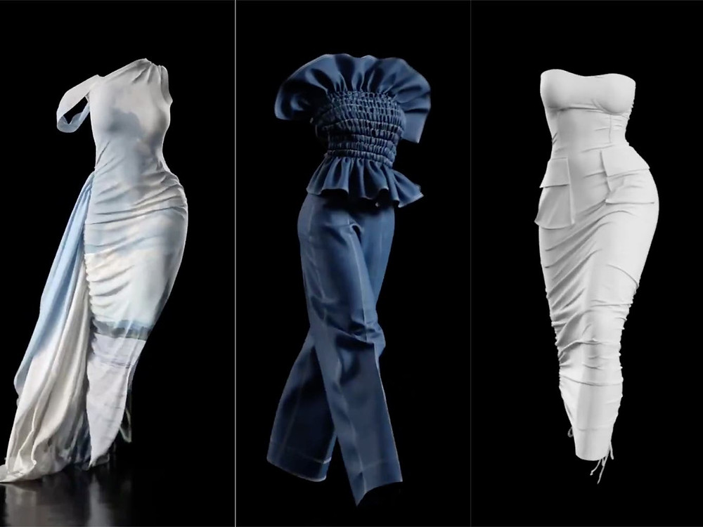 The world's first 'invisible models' showcase 3 of Hanifa's designs. On the left, a white, draped dress featuring a nature-inspired graphic; center, a denim jumpsuit with cinched and ruffled bodice; and to the left, a white, sleeveless, midi dress featuring pockets