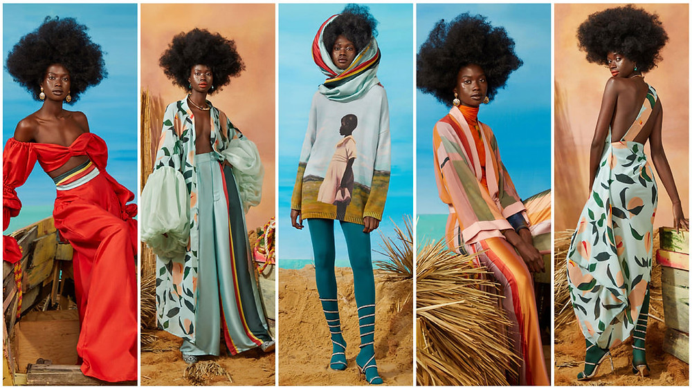 A model wears 5 Fe Noel ensembles ranging in color, patter, and season