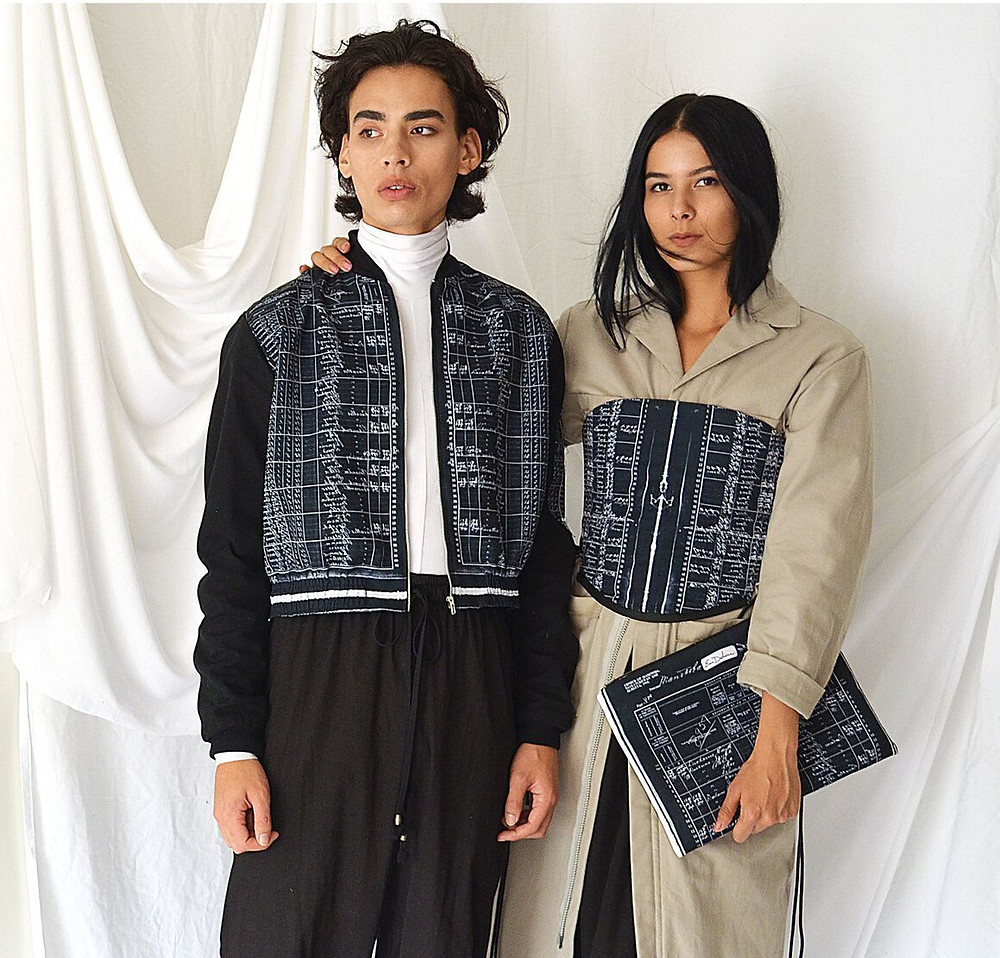 Two models pictured in Ducharme's printed designs