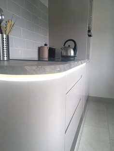 LED lighting from natural stone kitchen worktop