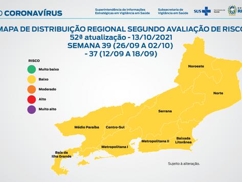 Covid: Estado do Rio tem todas as regiões com baixo risco