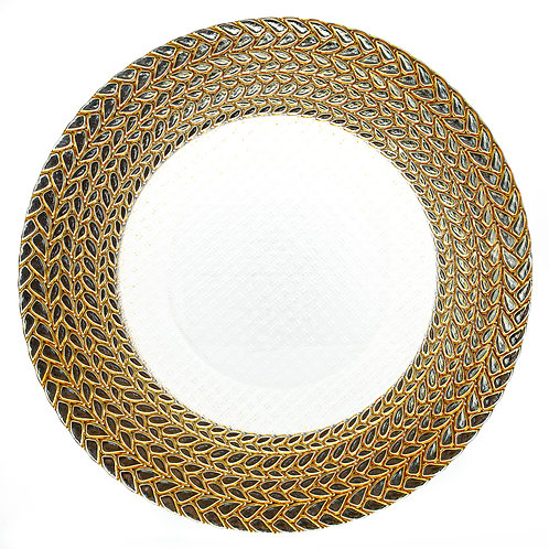 """13""""  Silver & Gold Braided Rim Charger Plate"""