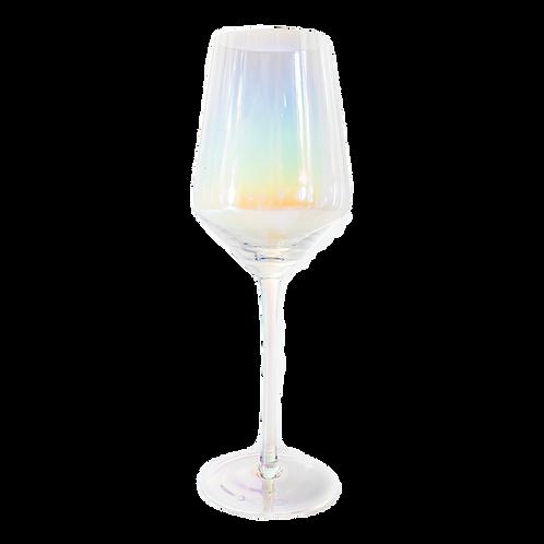 Iridescent White Wine Glass
